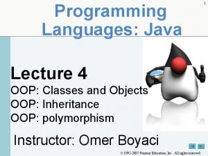Programming Languages: Java