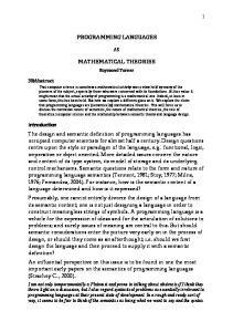 PROGRAMMING LANGUAGES MATHEMATICAL THEORIES