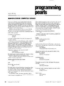programming pearls BUMPER-STICKER COMPUTER SCIENCE
