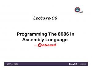 Programming The 8086 In Assembly Language Continued