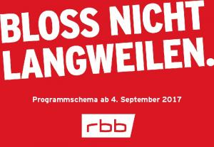 Programmschema ab 4. September 2017
