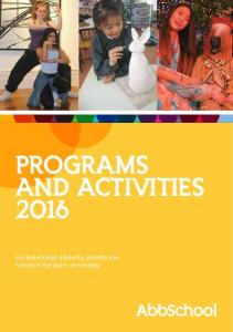 PROGRAMS AND ACTIVITIES 2016