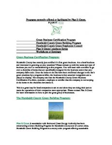 Programs currently offered or facilitated by Plan It Green
