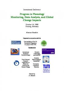 Progress in Phenology Monitoring, Data Analysis, and Global Change Impacts