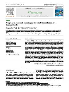 Progress in research on catalysts for catalytic oxidation of formaldehyde
