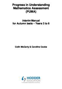 Progress in Understanding Mathematics Assessment (PUMA)