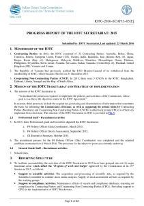 PROGRESS REPORT OF THE IOTC SECRETARIAT: 2015