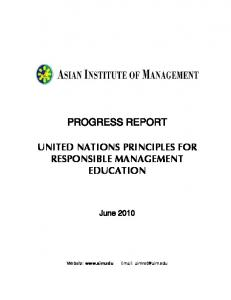 PROGRESS REPORT UNITED NATIONS PRINCIPLES FOR RESPONSIBLE MANAGEMENT EDUCATION