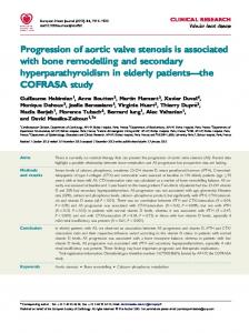 Progression of aortic valve stenosis is associated with bone remodelling and secondary hyperparathyroidism in elderly patients the COFRASA study