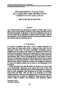 PROGRESSIVE TAXATION AS A MEANS FOR IMPROVING COMPETITIVE BALANCE