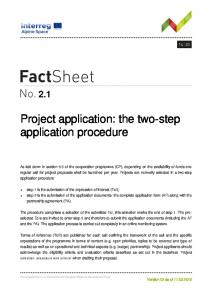 Project application: the two-step application procedure