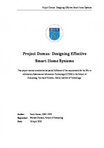 Project Domus: Designing Effective Smart Home Systems