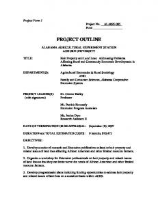 Project Form 1 Project No. ALA _ Fund PROJECT OUTLINE ALABAMA AGRICULTURAL EXPERIMENT STATION AUBURN UNIVERSITY