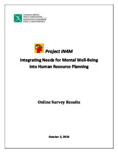 Project IN4M. Integrating Needs for Mental Well-Being into Human Resource Planning. Online Survey Results