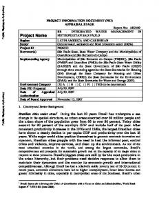 PROJECT INFORMATION DOCUMENT (PID) APPRAISAL STAGE