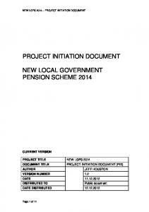 PROJECT INITIATION DOCUMENT (PID) NEW LOCAL GOVERNMENT PENSION SCHEME 2014