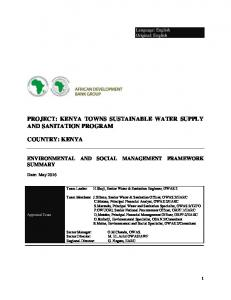 PROJECT: KENYA TOWNS SUSTAINABLE WATER SUPPLY AND SANITATION PROGRAM