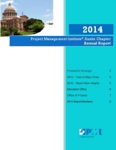 Project Management Institute Austin Chapter Annual Report
