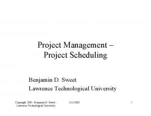Project Management Project Scheduling