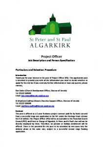 Project Officer Job Description and Person Specification