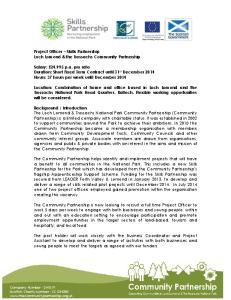 Project Officer Skills Partnership Loch Lomond & the Trossachs Community Partnership