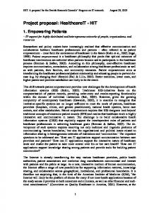 Project proposal: HealthcareIT - HIT