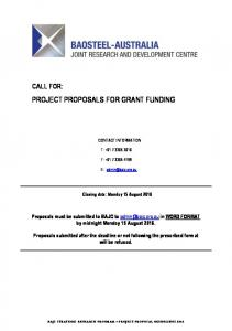 PROJECT PROPOSALS FOR GRANT FUNDING