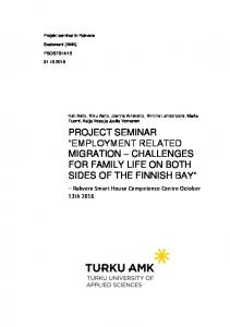 PROJECT SEMINAR EMPLOYMENT RELATED MIGRATION CHALLENGES FOR FAMILY LIFE ON BOTH SIDES OF THE FINNISH BAY