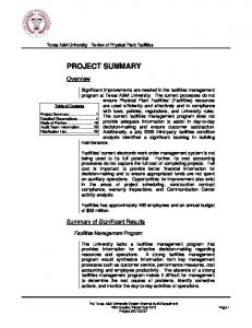 PROJECT SUMMARY. Summary of Significant Results. Facilities Management Program