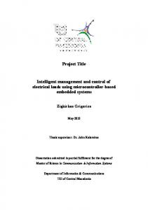 Project Title. Intelligent management and control of electrical loads using microcontroller-based embedded systems