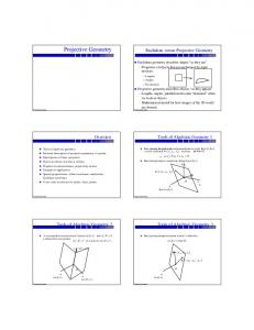 Projective Geometry. Euclidean versus Projective Geometry. Tools of Algebraic Geometry 1. Overview. Tools of Algebraic Geometry 2