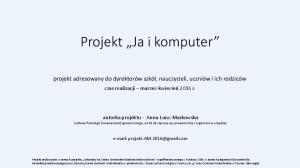 Projekt Ja i komputer
