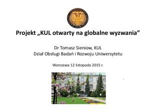 Projekt KUL otwarty na globalne wyzwania