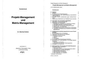 Projekt-Management und Matrix-Management