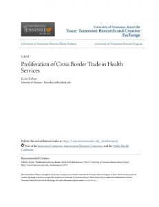 Proliferation of Cross Border Trade in Health Services