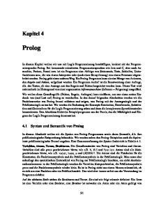 Prolog. Kapitel Syntax und Semantik von Prolog
