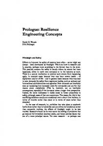 Prologue: Resilience Engineering Concepts