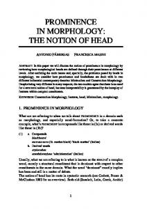 PROMINENCE IN MORPHOLOGY: THE NOTION OF HEAD