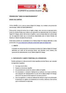 PROMOCION LIBRO DE MANTENIMIENTO BASES DEL SORTEO