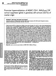 Promoter hypermethylation of MGMT, CDH1, RAR-b and SYK tumour suppressor genes in granulosa cell tumours (GCTs) of ovarian origin
