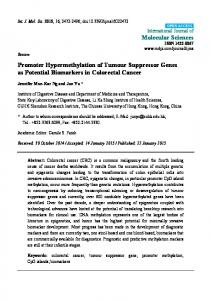 Promoter Hypermethylation of Tumour Suppressor Genes as Potential Biomarkers in Colorectal Cancer