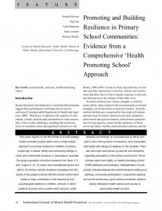 Promoting and Building Resilience in Primary School Communities: Evidence from a Comprehensive Health Promoting School Approach