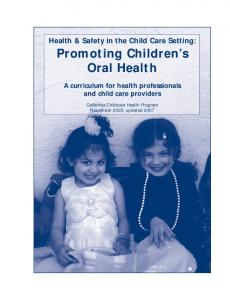 Promoting Children s Oral Health