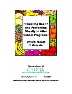 Promoting Health and Preventing Obesity in After School Programs: