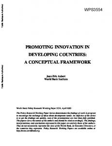 PROMOTING INNOVATION IN DEVELOPING COUNTRIES: A CONCEPTUAL FRAMEWORK