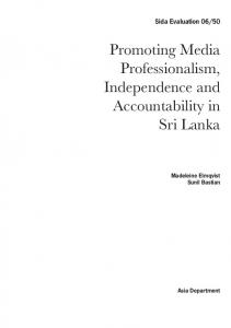 Promoting Media Professionalism, Independence and Accountability in Sri Lanka