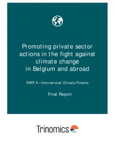 Promoting private sector actions in the fight against climate change in Belgium and abroad