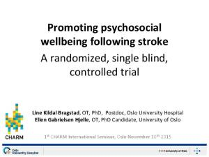 Promoting psychosocial wellbeing following stroke A randomized, single blind, controlled trial