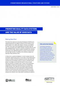 PROMOTING QUALITY DATA SYSTEMS AND THE VALUE OF GOOD DATA