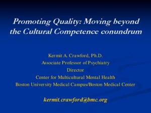 Promoting Quality: Moving beyond the Cultural Competence conundrum